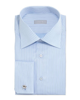 Stefano Ricci Striped French-Cuff Solid Dress Shirt, Light Blue