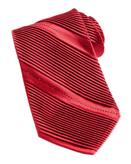 Stefano Ricci Pleated Crystal Silk Tie, Red