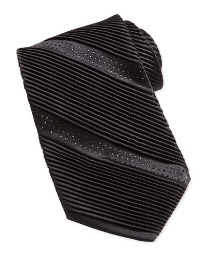 Stefano Ricci Crystal Silk Tie, Black