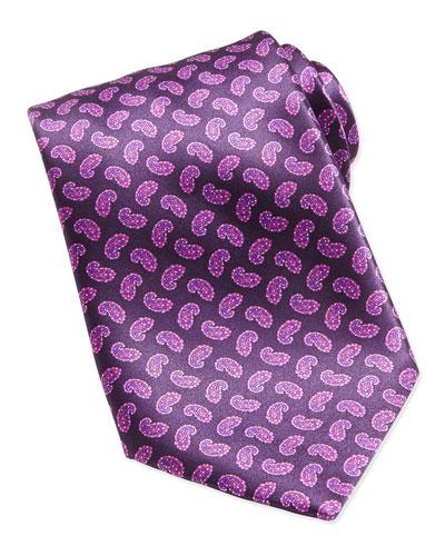 Paisley-Print Woven Silk Tie, Pink