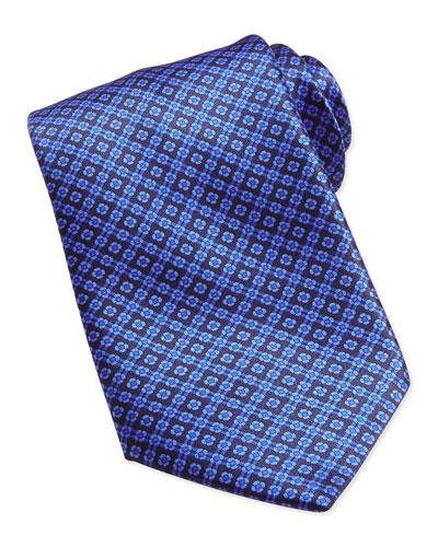 Floral-Pattern Woven Silk Tie, Blue