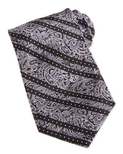 Paisley-Print Striped Woven Silk Tie, Gray