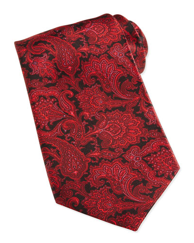 Paisley-Print Woven Silk Tie, Red