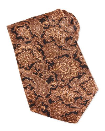 Paisley-Print Woven Silk Tie, Brown
