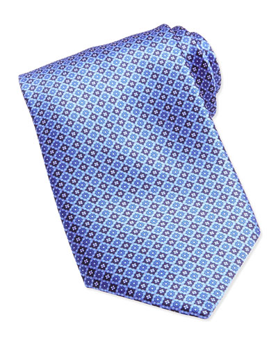 Neat Medallion Pattern Silk Tie, Blue