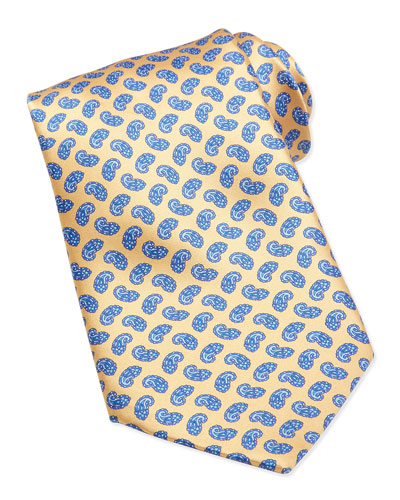 Neat Paisley Pattern Silk Tie, Yellow