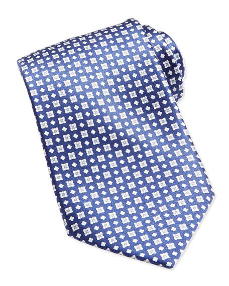 Stefano Ricci Windowpane/Floral Pattern Silk Tie, Blue