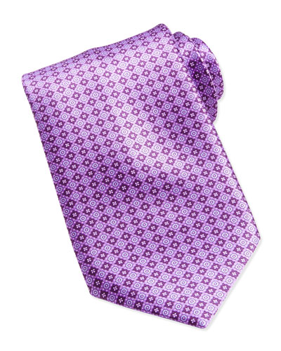 Floral Medallion Pattern Silk Tie, Purple