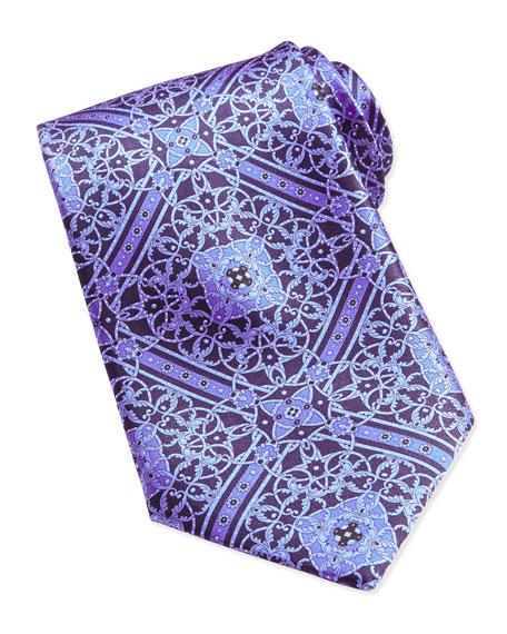Stefano Ricci Floral Medallion Pattern Silk Tie, Blue