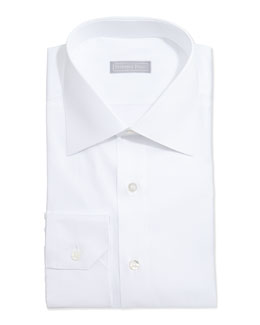 Stefano Ricci Basic Solid Barrel-Cuff Dress Shirt, White