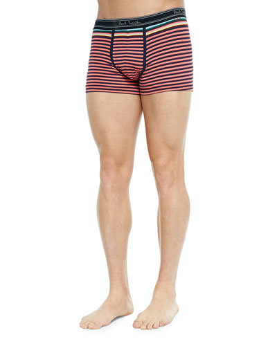 Striped Low-Rise Boxer Briefs, Pink/Blue