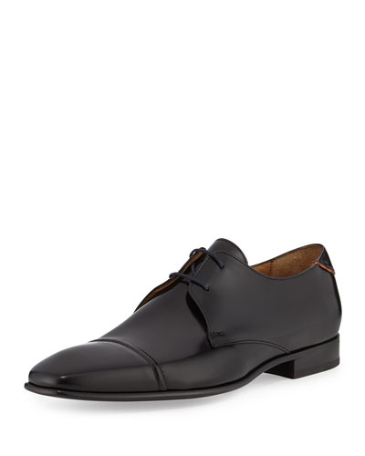 Robin High Shine Leather Oxford Shoe, Black