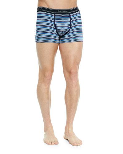 Striped Low-Rise Boxer Briefs, Blue/Gray Multi