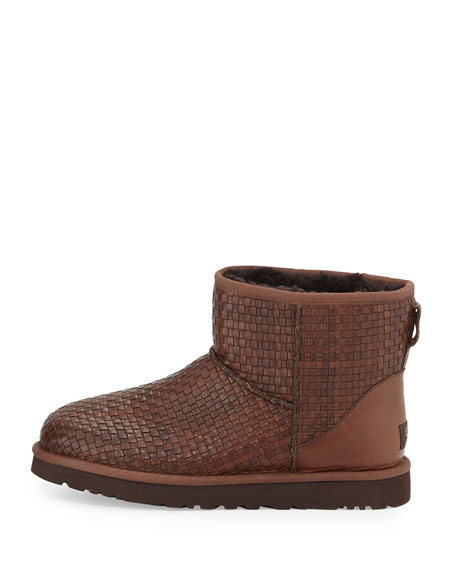 ugg australia woven leather mini boot cognac