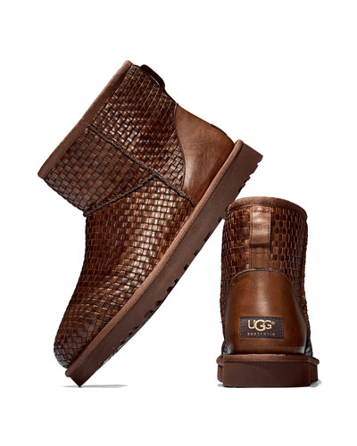 UGG Australia Woven Leather Mini Boot, Cognac