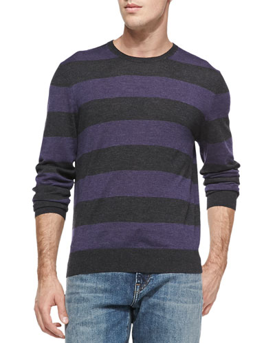 Neiman Marcus Rugby-Stripe Cashmere Sweater, Charcoal/Ruby
