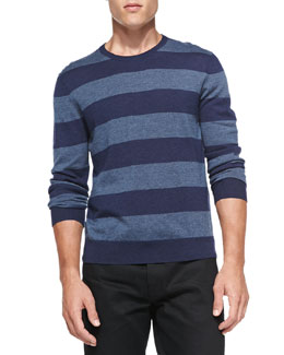 Neiman Marcus Rugby-Stripe Cashmere Sweater, Marine Blue