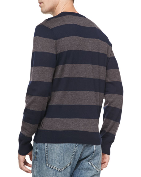Rugby-Stripe Cashmere Sweater, Navy/Brown