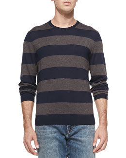 Neiman Marcus Rugby-Stripe Cashmere Sweater, Navy/Brown