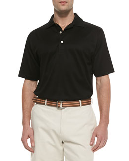 Peter Millar Cotton Short-Sleeve Polo, Black