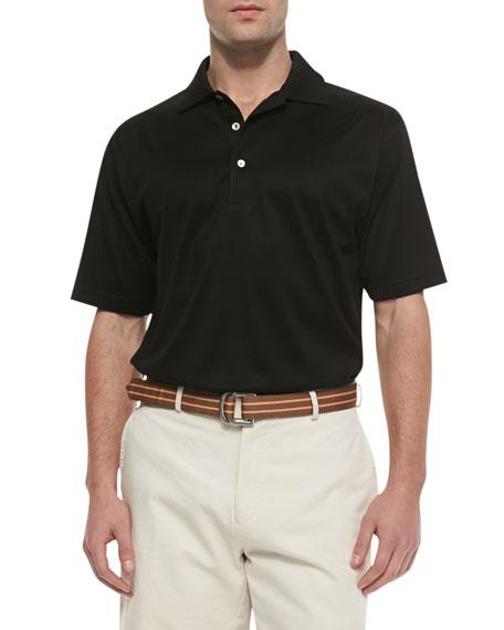 Peter Millar Cotton Short-Sleeve Polo, Black