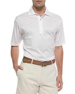 Peter Millar Cotton Short-Sleeve Polo, White