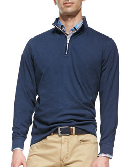 Peter Millar 1/2-Zip Jersey Pullover Sweater, Navy