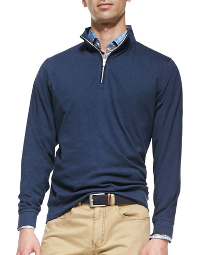 1/2-Zip Jersey Pullover Sweater, Navy