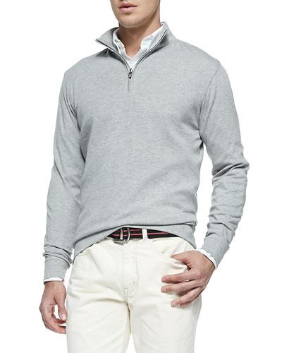 Cotton 1/2-Zip Pullover, Light Gray
