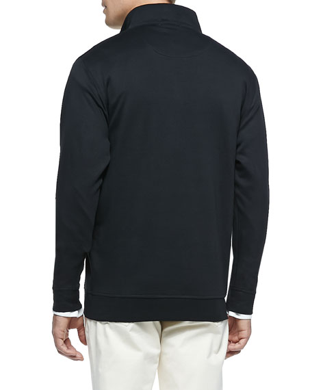 Cotton 1/2-Zip Pullover, Black