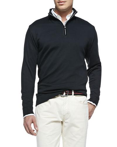 Cotton 1/2-Zip Pullover, Black