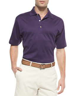 Peter Millar Cotton Short-Sleeve Polo Shirt, Purple