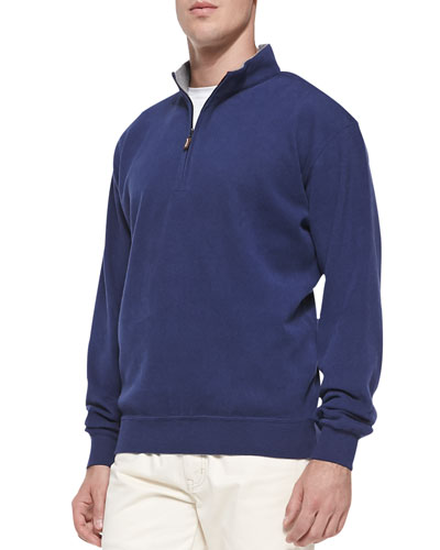 Cotton-Fleece 1/2-Zip Pullover, Navy