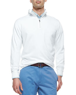 Peter Millar 1/2-Zip Jersey Pullover Sweater, White