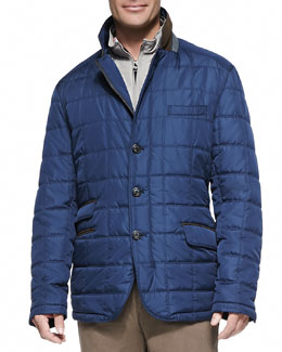 Peter Millar Turin Quilted Car Coat, Navy
