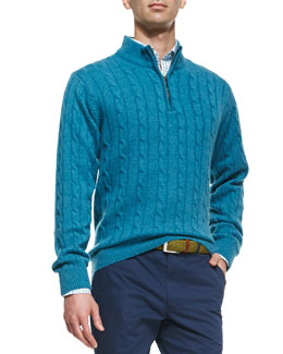 Peter Millar Cashmere Cable Knit 1/2-Zip Sweater, Blue