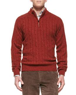 Peter Millar Cashmere Cable Knit 1/2-Zip Sweater, Orange