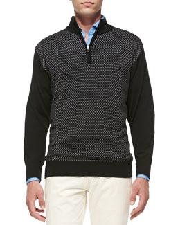 Peter Millar Thai Jacquard 1/2-Zip Sweater, Black Grey