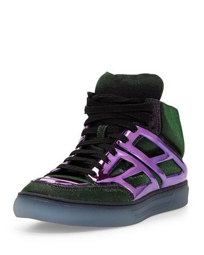 Alejandro Ingelmo Iridescent Plate-Detail Sneaker, Turquoise/Purple