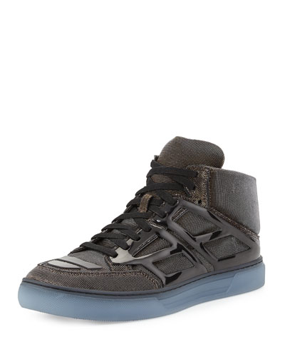 Iridescent Mesh High-Top Sneaker, Gold