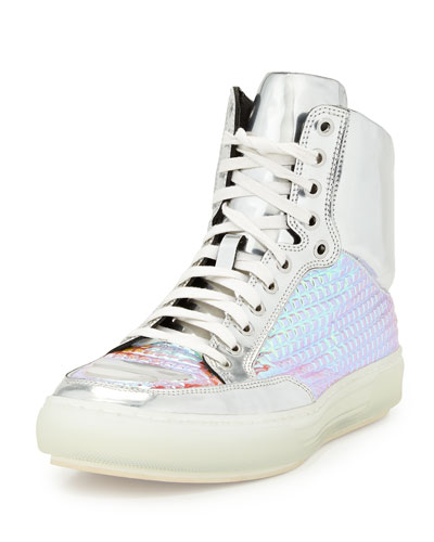 Alejandro Ingelmo Iridescent Grid & Metallic Leather High-Top Sneaker, Silver