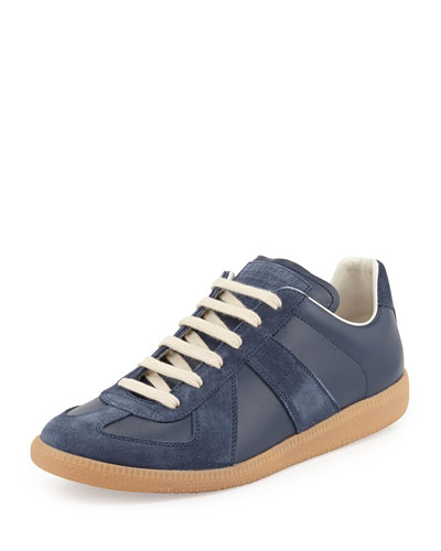 Maison Martin Margiela Replica Leather Low-Top Sneaker, Navy