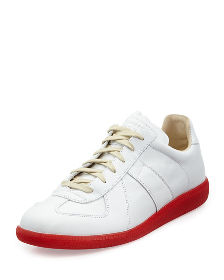 Maison Margiela Replica Leather Low-Top Sneaker with Red Sole, White