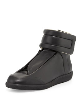 Maison Martin Margiela Future Leather High-Top Sneaker, Black