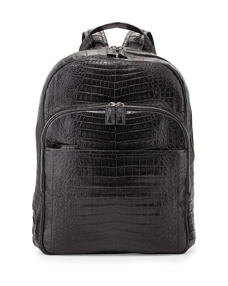 Caiman Crocodile Backpack, Black