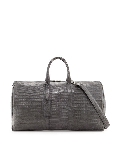 Santiago Gonzalez Speedy Crocodile Duffel Bag, Charcoal