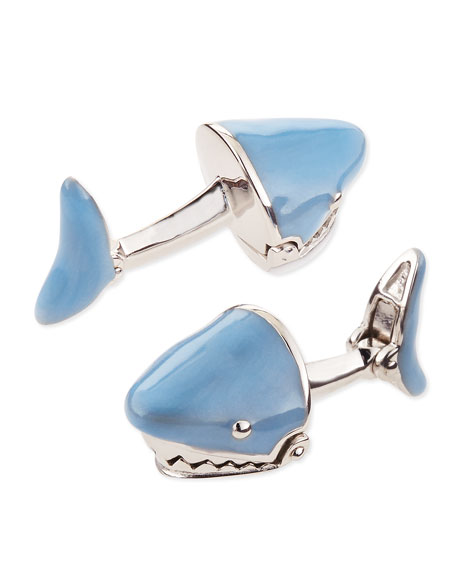 Movable Shark Face Cuff Links, Light Blue