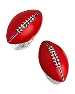 Jan Leslie Hand-Painted Football Cuff Links, Red