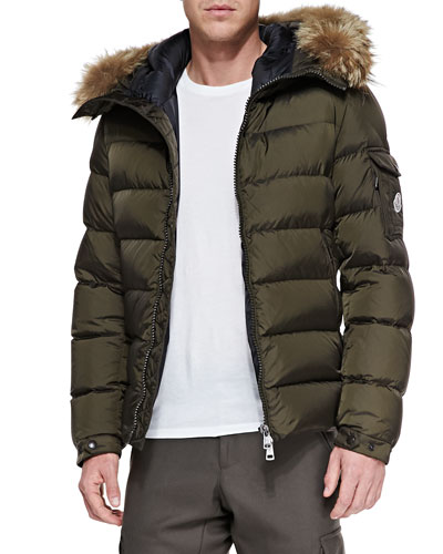 Moncler Byron Fur-Trim Hood Puffer Cardigan, Brown