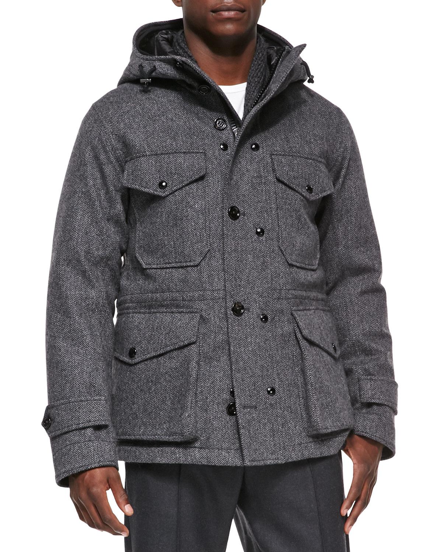 Willie Herringbone Hooded Jacket, Gray